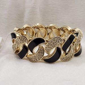 NEW Ann Taylor Black Enamel Stretch Bracelet #1525